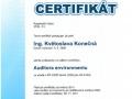 12.Certifikát Auditor environmentu vydaný CERT-ACO